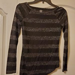 #234 Jessica Simpson Black/Silver Asymmetrical Top